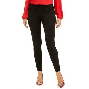 INC Pintucked Faux-Suede Leggings Black Small